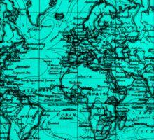 World Map (1899) Light Blue & Black Sticker
