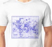 World Map (1899) White & Blue  Unisex T-Shirt