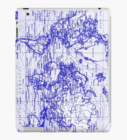 World Map (1899) White & Blue  iPad Case/Skin