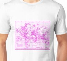 World Map (1899) White & Pink Unisex T-Shirt