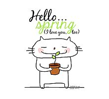 Hello spring !! (I love you, too) / cat doodles Photographic Print