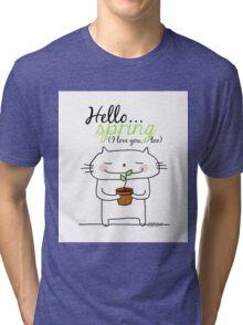 Hello spring !! (I love you, too) / cat doodles Tri-blend T-Shirt