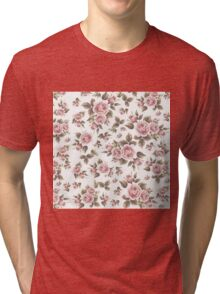 Elegant chic vintage pink brown roses flowers Tri-blend T-Shirt