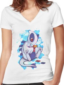 Gamer Lugia Women's Fitted V-Neck T-Shirt