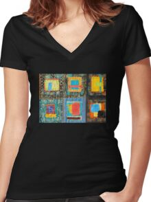 "Lilly Geometric Textile Art Series ""Loose Ends, Thirteen"" Women's Fitted V-Neck T-Shirt"