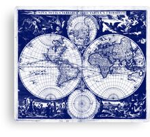 Vintage Map of The World (1685) Blue & White Canvas Print