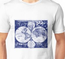 Vintage Map of The World (1685) Blue & White Unisex T-Shirt