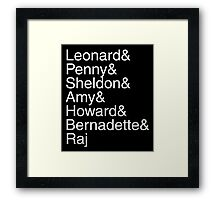 The Big Bang Theory - Names Framed Print