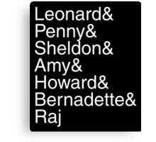 The Big Bang Theory - Names Canvas Print