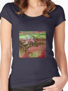 """""""Here Begins The Journey Towards Sky"""" from the series """"In the Lotus Garden"""" Women's Fitted Scoop T-Shirt"""