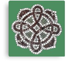 Victorian tile mosaic pattern on green Canvas Print