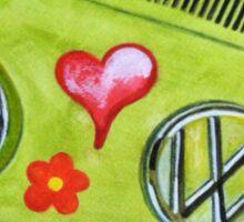 Pea Green Hippie Bus Sticker