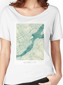 Quebec City Map Blue Vintage Women's Relaxed Fit T-Shirt