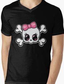 Cute Skull Mens V-Neck T-Shirt