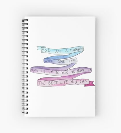 danisnotonfire Life Motivation Quote (blue/pink gradient) Spiral Notebook