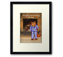Happy Birthday Baby, cheeky ginger cat in pyjamas Framed Print