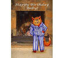 Happy Birthday Baby, cheeky ginger cat in pyjamas Photographic Print