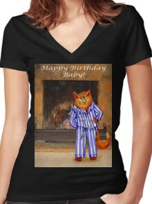 Happy Birthday Baby, cheeky ginger cat in pyjamas Women's Fitted V-Neck T-Shirt