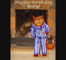 Happy Birthday Baby, cheeky ginger cat in pyjamas Unisex T-Shirt