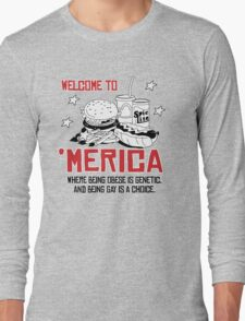 'Merica: where being obese is a genetic Long Sleeve T-Shirt