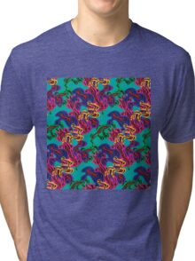 Abstract pattern on turquoise background Tri-blend T-Shirt