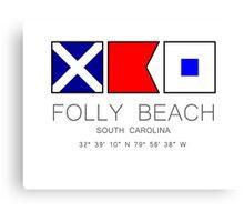Folly Beach South Carolina Nautical Flag Canvas Print