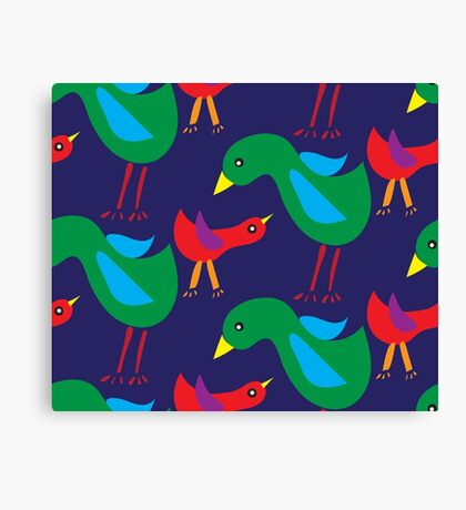 Pattern with birds on blue background Canvas Print