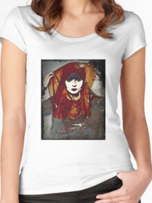 Louis Brooks in Gray and Orange Scarves Women's Fitted Scoop T-Shirt