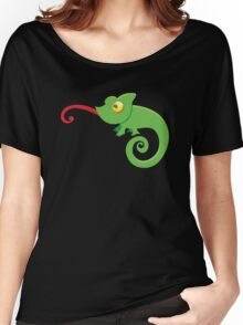 Green cute CHAMELEON with tongue licking Women's Relaxed Fit T-Shirt