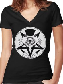 JACK THE RIPPER CULT CAT Women's Fitted V-Neck T-Shirt