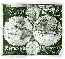 Vintage Map of The World (1685) Green & White  Poster