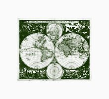 Vintage Map of The World (1685) Green & White  Unisex T-Shirt