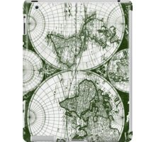 Vintage Map of The World (1685) Green & White  iPad Case/Skin