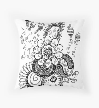 Zentangle Spring Flowers Throw Pillow