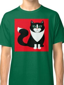 TUXEDO CAT ON RED BACKGROUND Classic T-Shirt