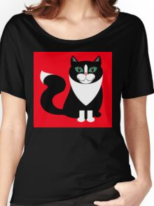 TUXEDO CAT ON RED BACKGROUND Women's Relaxed Fit T-Shirt