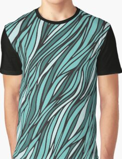Cyan wave pattern Graphic T-Shirt