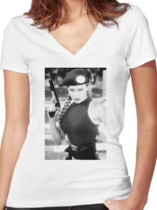 CAMMY STREET FIGHTER KYLIE MINOGUE Women's Fitted V-Neck T-Shirt