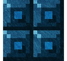 Blue Green Pixel Blocks Photographic Print