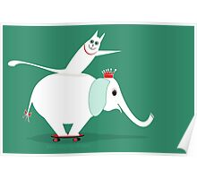 WHITE ELEPHANT & CAT ON GREEN Poster