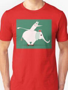 WHITE ELEPHANT & CAT ON GREEN Unisex T-Shirt