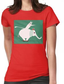 WHITE ELEPHANT & CAT ON GREEN Womens Fitted T-Shirt