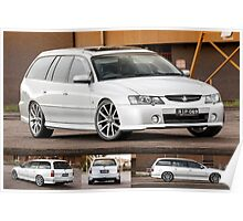 Silver Holden VY Commodore Wagon Poster