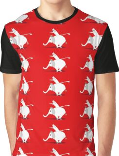 WHITE ELEPHANT & CAT ON RED Graphic T-Shirt