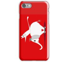 WHITE ELEPHANT & CAT ON RED iPhone Case/Skin