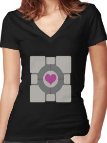 Companion Cube Women's Fitted V-Neck T-Shirt