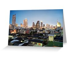 Bangkok Silom Twilight Skyline Greeting Card