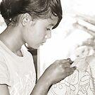 Schoolgirl Doing Batik 2 by Werner Padarin