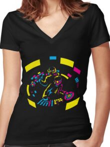 Daft Punk CMYK Women's Fitted V-Neck T-Shirt