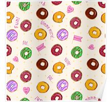 Beautiful vector seamless pattern with colorful donuts Poster